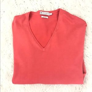 Peter Millar salmon pink v-neck sweater size l